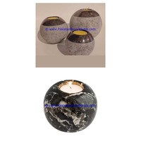 Home Decor Tabletop Antique marble candle holders sphere ball shaped stands tea lights