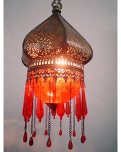 BR266 Red Glass/Brass Pendant Moroccan Lamp Shade W/Beads/Tears
