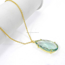 Perfect Design !! Cambri Green Amethyst Hydro 18k Gold Plated Wholesale Jewelry Handmade Prong Set Long Chain Necklace SINL0781