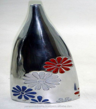 Home Decor Aluminum Flower Vase With Flower Printed