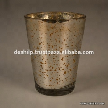 Large Traditional Amber Glass Hurricane with Metallic Gold