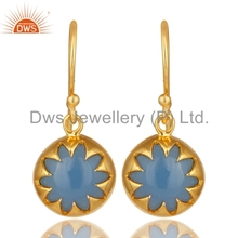 Designer Gold Plated 925 Silver Earring Blue Chalcedony Gemstone Earrings Jewelry For Girls