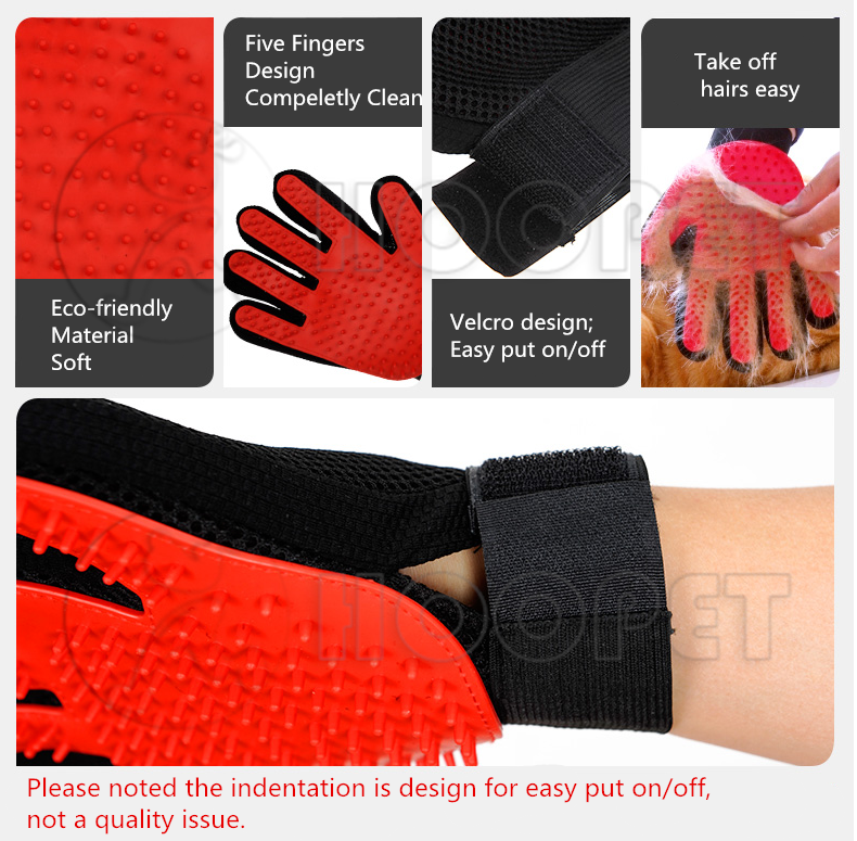 Premium Quality Pet Grooming Glove Right and Left Hands - Harmless Gentle Deshedding Dog Brush