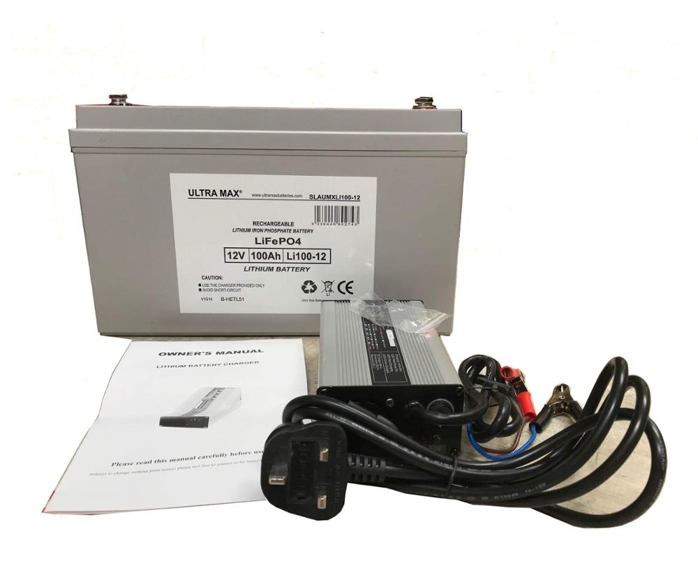 ULTRA MAX LITHIUM LI100-12 - Replace SLA 12V 100Ah with 4 times cycle life, Charger Included + UK TO EU PLUG ADAPTOR FREE