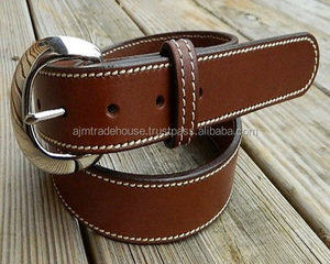 High Quality Cow Natural Leather Belt with Matching Stitch / High Quality Cowboy Style Custom Men's Genuine Vintage Leather Belt
