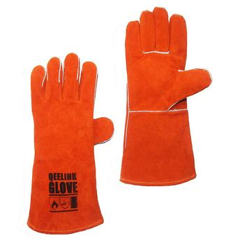 Qeelink premium leather welding gloves-cotton lined and stitching - colors and size , 16 inch