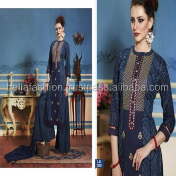 Good looking Indian Modern Fancy Looking Latest Indian Pakistani Embroidery and Print Designe Style Salwar kameez