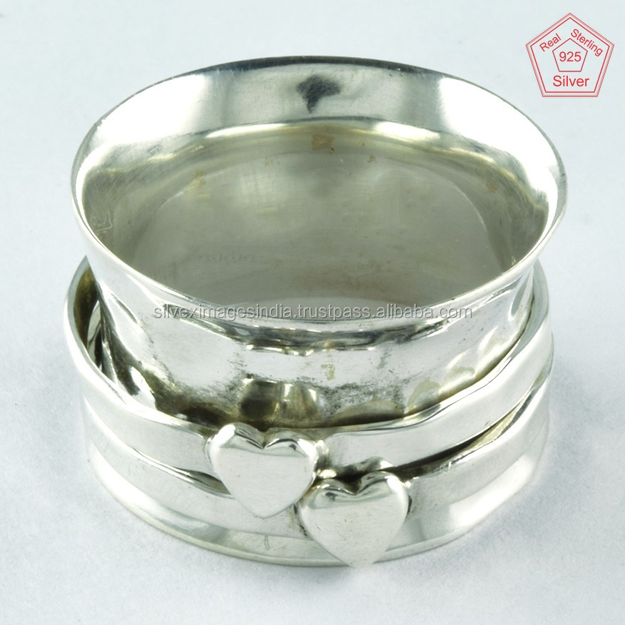 Plain Silver Double Heart Hammered Lover Ring 925 Sterling Silver Wholesale Price Spinner ring Jewellery Supplier India