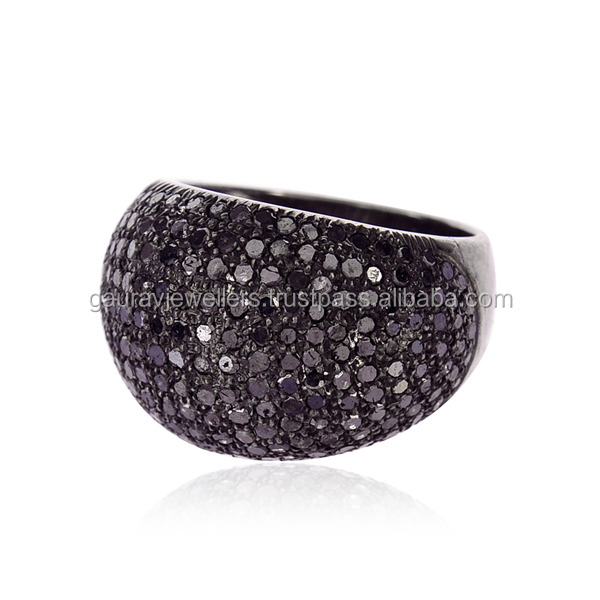 Natural Black Diamond Pave Sterling Silver Vintage Style Dome Band Ring Jewelry