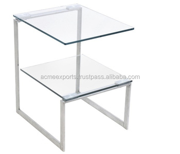 Contemporary Bedside Modern Glass Top Side Table | Coffee Table Stainless Steel