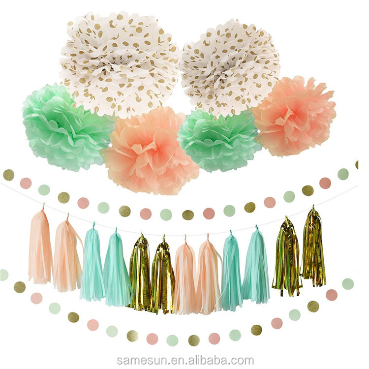 Mint Peach Gold Tissue Pom Pom And Paper Tassel Garland Decoration Set