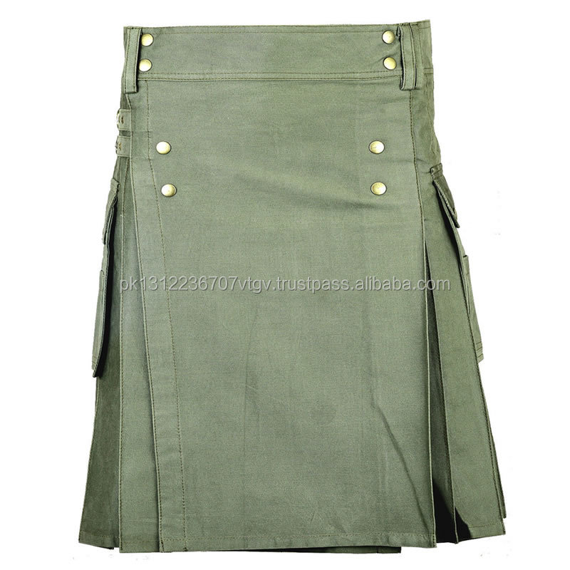 Olive Green Scottish Classic Casual Standard Utility Kilt Working Men Handmade/scottish