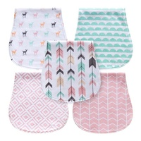 Newborn gift set 5 Pack Baby Burp Cloths for Boys, Triple Layer, 100% Organic Cotton