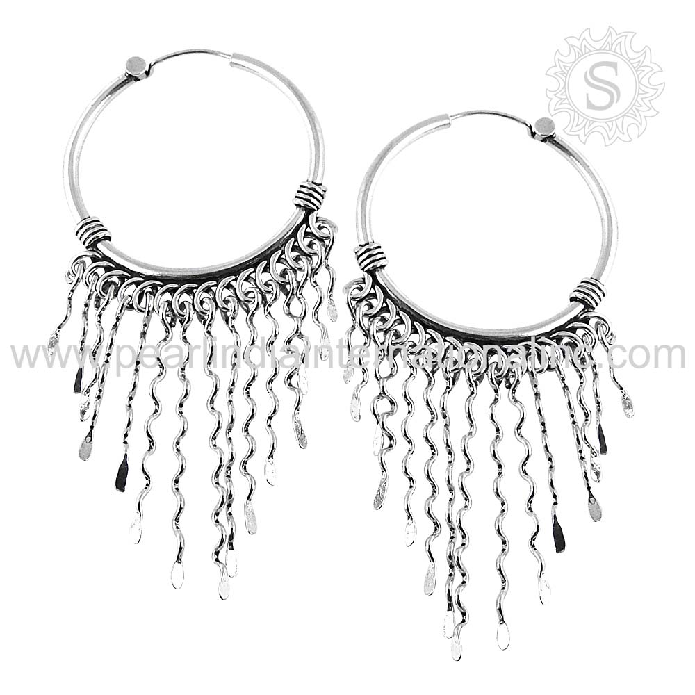 Scintillate plain silver wholesale jewelry 925 sterling silver hanging earrings indian jewelry