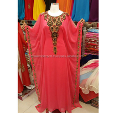MULTI COLOR CRYSTALS WORK RED BEADED MOROCCAN ABHAYA KAFTAN DRESS DUBAI STYLE LONG KAFTAN