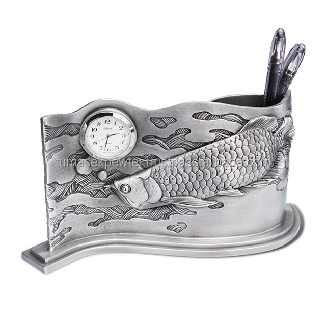 Personalised Malaysia Pewter Arowanna Pen Holder With Clock