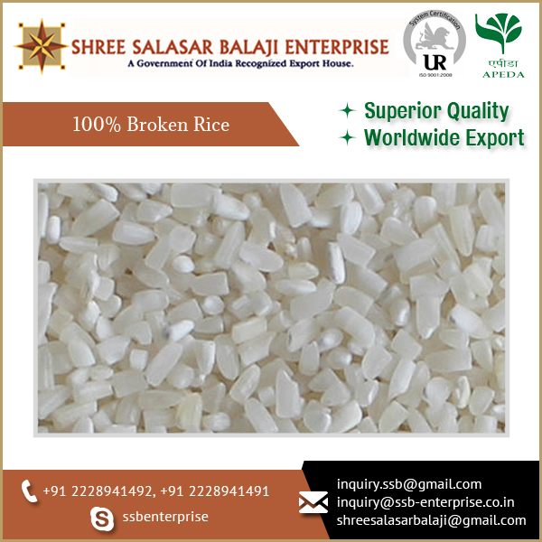 Highly Nutritious, Cost Effective, Chemicals Free 100% Broken Rice at Low Price