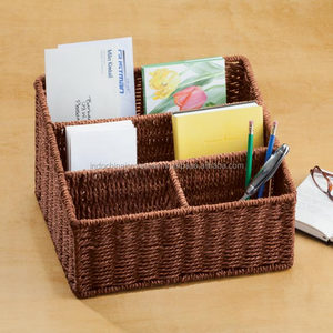Wicker Rattan Letter Holder, Desk Organizer, Mail Sorter, Office Accessories, Gift Giving