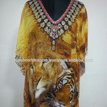 Tiger Print Stylish 숙 녀 꾸밈 카프 탄/Free Size/4 Attractive Digital 인화