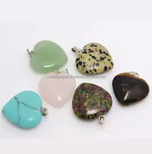 Gemstone Puffy Heart Pendant Necklace Jewelry : Gemstone Puffy Heart Pendants : Hot Sale Wholesale Crystal Pendants