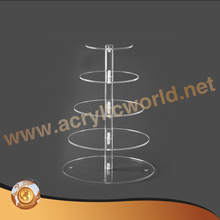 5 Tier Round Maypole Party Wedding cake display Food Grade Acrylic Cupcake Stand, Multi Tiered Cake Stand