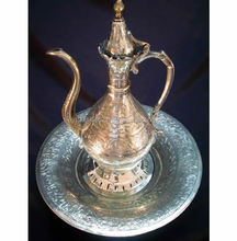 Old / Antique Engraved Metal Turkish / Ottoman Pitcher / Tray
