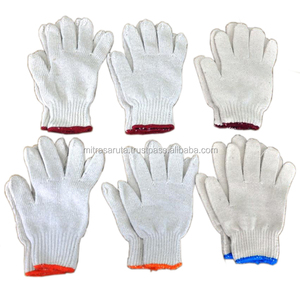 7 GAUGE COTTON KNITTED HAND GLOVES IN NATURAL, WHITE AND GREY COLOR