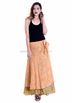 Indian Latest print rapron skirts party dress for women Knee Length Wrap Skirts Summer Fashion Beach Skirts
