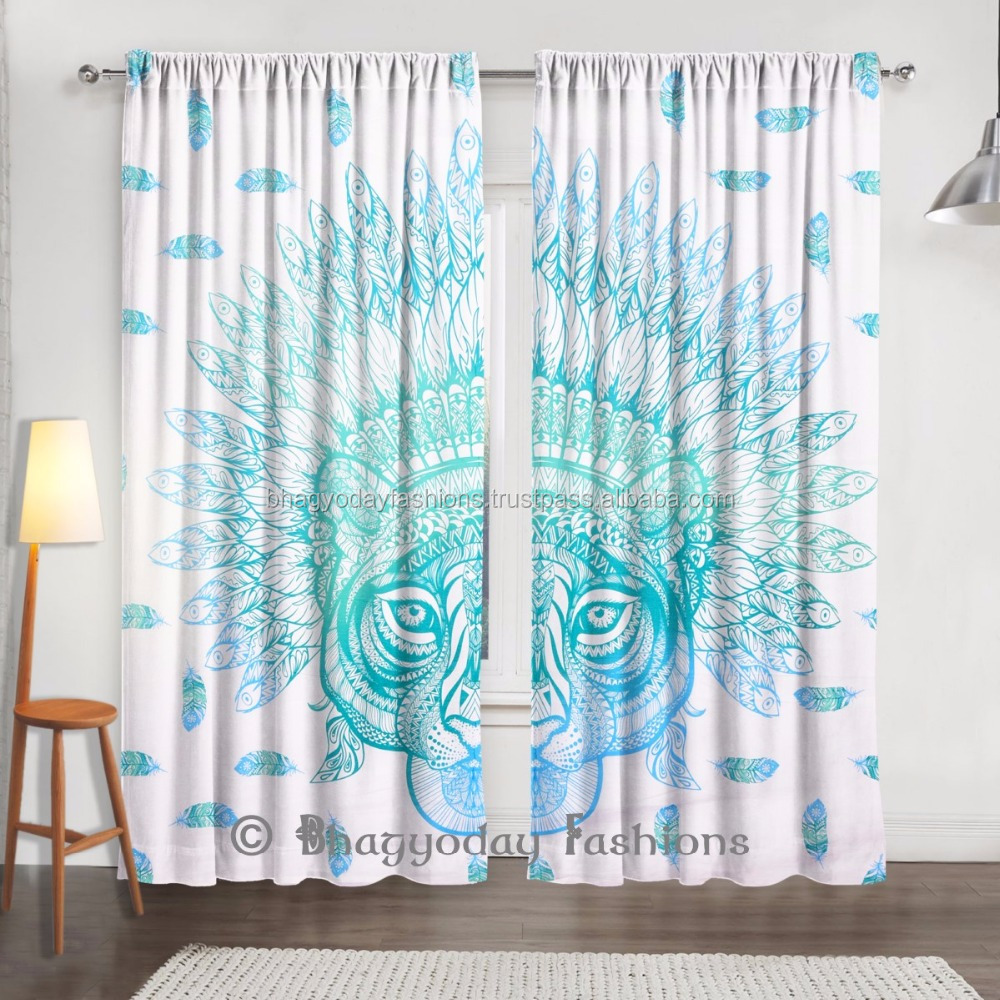 African Tiger Sheer Valance Treatment Indian Cotton Fabric Door Window Curtain Blind Voile For Living Room