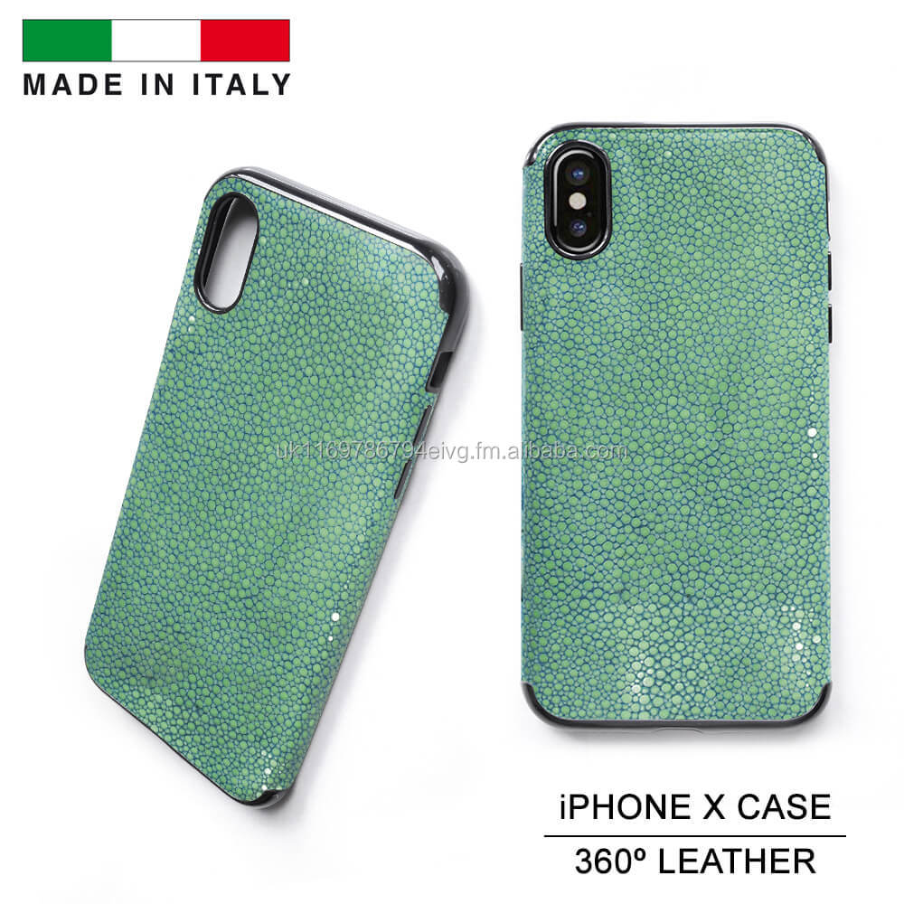 Genuine Stingray Shagreen Leather Mobile Phone Case X Made in Italy