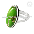Green copper turquoise gemstone finger ring handmade 925 sterling silver rings jewelry wholesaler