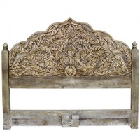 Hand Carved Whitewash King Size Bed Head