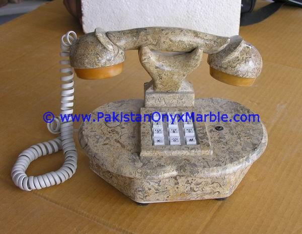 MARBLE HANDCRAVED TELEPHONE SET CRAFTS HANDMADE UNIQUE