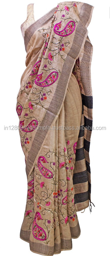 Kantha Paisely Tussar Silk Saree