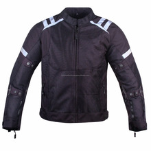 Mens Mesh Armored Reflective Waterproof Black Motorcycle Jacket--MJ-143