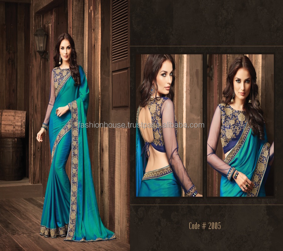 Blue Saree Embroidered Saree Latest Designer Saree From India Premium Quality