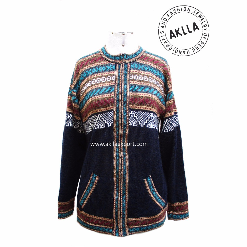 Alpaca Geometric Sweater with Zipper Peruvian Handicrafts