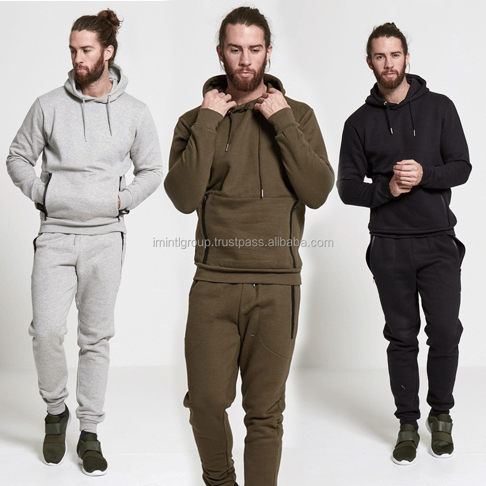 Men athletic full zip fleece tracksuit jogging gym sweatsuit activewear suit IM.3415