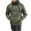 Cross Long Zip Front Bomber Jacket Olive Green Polyester Softshell Hooded Jacket Zip Front Hooded Jacket