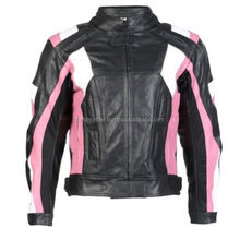 Ladies Black & Pink Leather Women's Motorcycle Jacket With CE Armour--MWJ-104