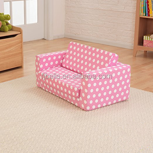 Foam Child Sofa Lounger Folding Sofa Bed Lightweight Kid Party Sofa with White Polka Dots