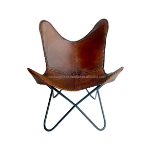 New design leisure chair tan color genuine leather butterfly chair