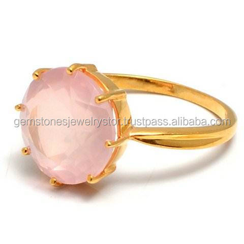 Rose Quartz 925 sterling silver ring Gold Ring Faceted stone Ring Rose Quartz