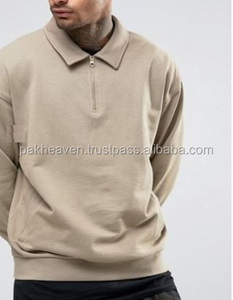 Half Zip And Collar fitted jumper pullover Crew Neck Sweatshirt in fleece french terry