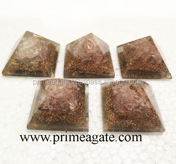 Orgone Rose Quartz Copper Layer Baby Pyramids For Sale