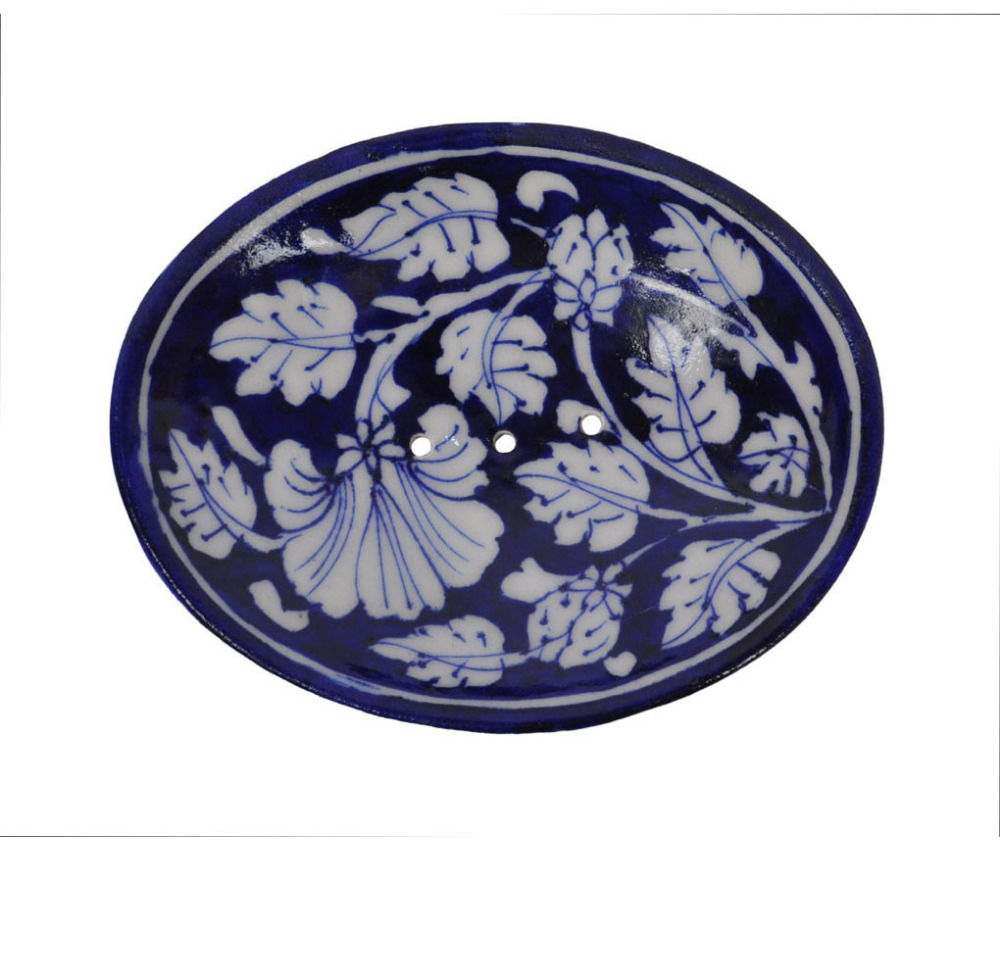 "Unique Decorative Shaped Hand Crafted Pottery Blue Pottery Floral Printed 5x4"" Soap/ Trinket Dish & Hand Made Soap Bar"