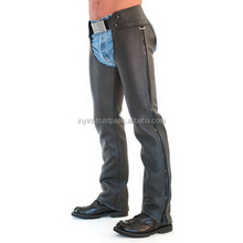 2018 Hot Wale Fashion Black Leather Chaps For Men Bikers Hero Best Sale Leather Chaps / BK_C001