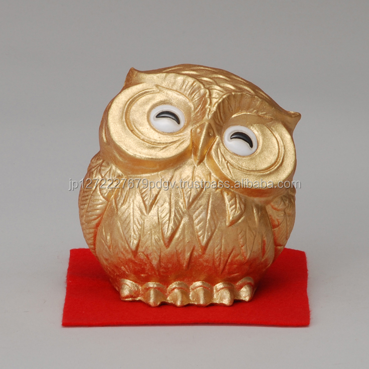 Gold Owl Shaped Earthenware Cute Handmade Gift Unique Craft