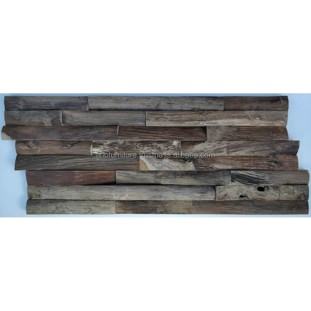 Teak Skin Wood 3D Wood Mosaic Decoration Interior Decorative Wall Panel