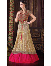 Latest open collar ethnic women dress online shopping of gown